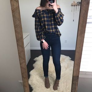 Lush Plaid Off The Shoulder Top